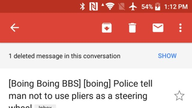 Android版Gmailは今やスレッドからの削除メッセージをユーザーに通知