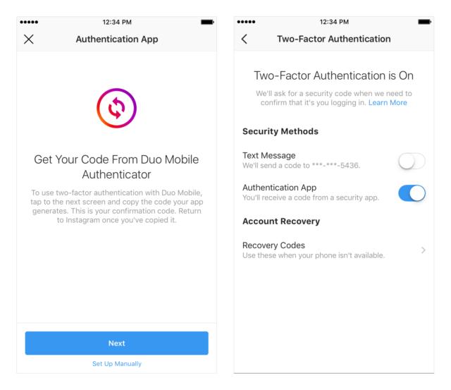 最近のソーシャルアプリでは、二段階認証をサポートするのが一般的ですが、月間アクティブユーザー数が10億人を超えているにも関わらず、Instagramが2段階認証アプリのサポートを最近やっと追加したことは非常に驚きました。 これは、標準的なセキュリティ機能であり、Facebook所有の写真共有サービスに不合理な時間がかかるのを避けるための機能です。 同社は、InstagramユーザーがInstagramアカウントにログインするために第三者の認証アプリを間もなく使用できるようになることをブログの投稿により正式に発表し、これはInstagramに素早くログインするためにGoogle Authenticatorや1Passwordのようなアプリを使用できるようになることを意味します。 Instagramにログインするのに、このようなアプリを使いたければ、まずそのアプリで自分のプロフィール画面に行き、メニューアイコンをタップして設定メニューにアクセスします。「2段階認証」オプションは「認証アプリ」機能に移行し、この機能によりユーザーは自分が好む2段階認証の形式を選択できます。 認証アプリが既にデバイスにインストールされている場合は、自動的に検出され、ログインコードが送信されます。 その後、アプリでそのコードを取得し、2段階認証を自動的に有効にするためにそのコードをInstagramに入力しなければなりません。 Cellphones, Apps, Instagramを調べる